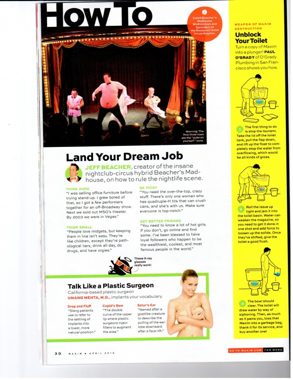 (Maxim Magazine advice featuring tips from O'Grady Plumbing - PDF)